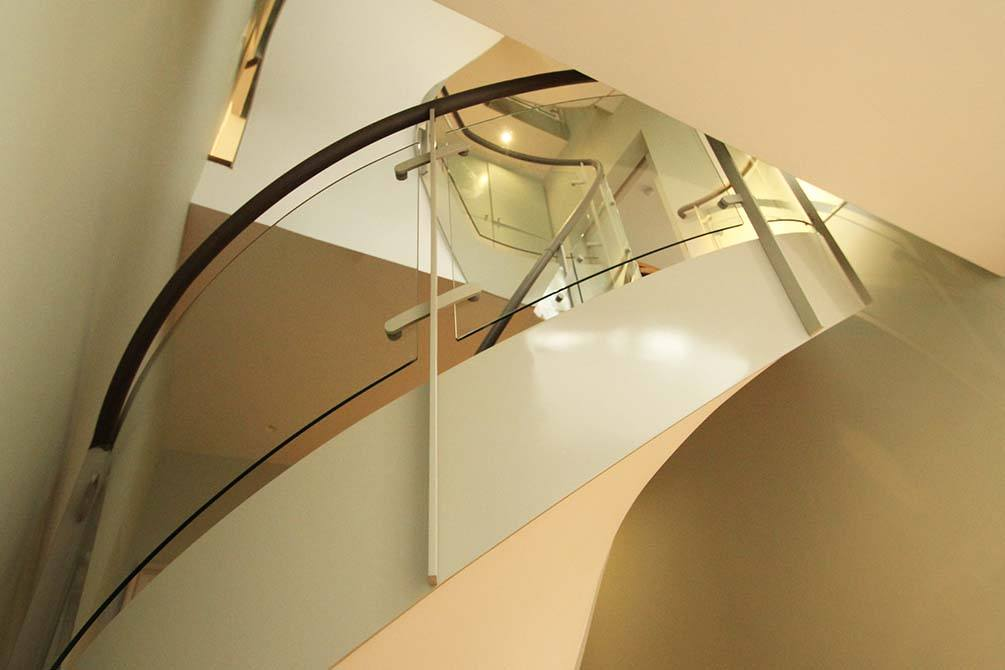 Arkwright glass and steel staircase