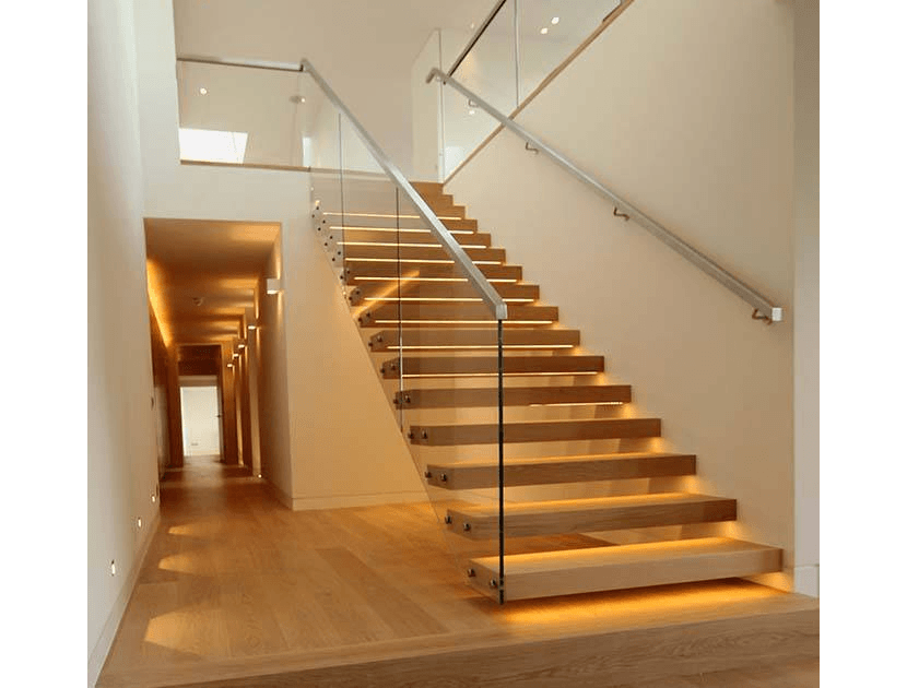 cantilever staircase with under lighting
