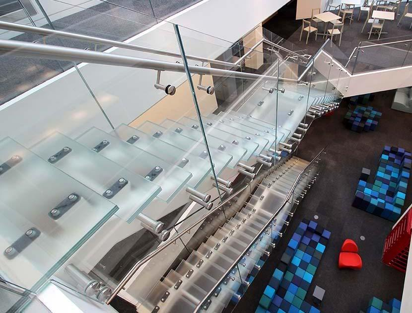 two glass staircases above one another