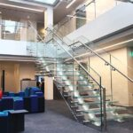 Commercial glass straight staircase