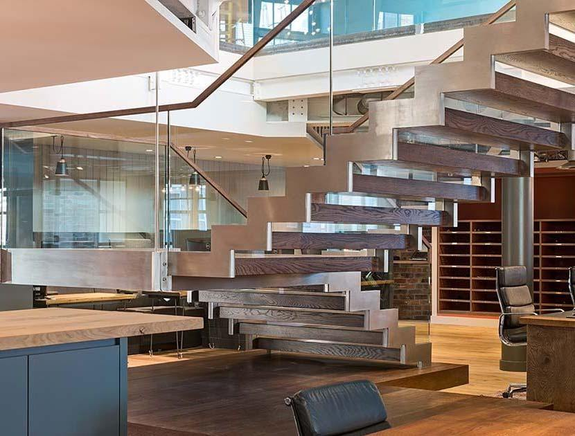 Commercial straight staircase