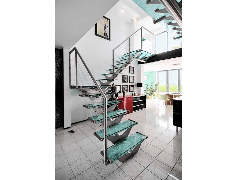 glass straight staircase