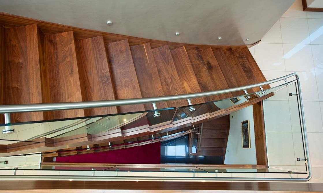 Cliff steel glass timber staircase
