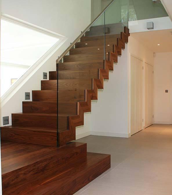 Walnut Stair Treads Uk: Dutch: Walnut & Glass Modern Staircase