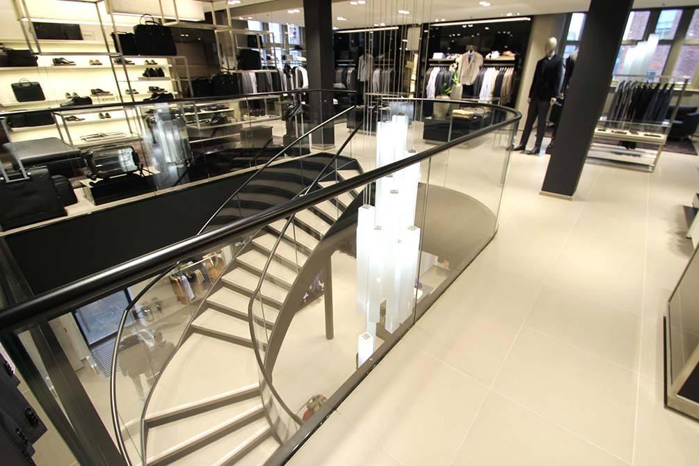 Hugo Boss Nottingham glass balustrade handrail