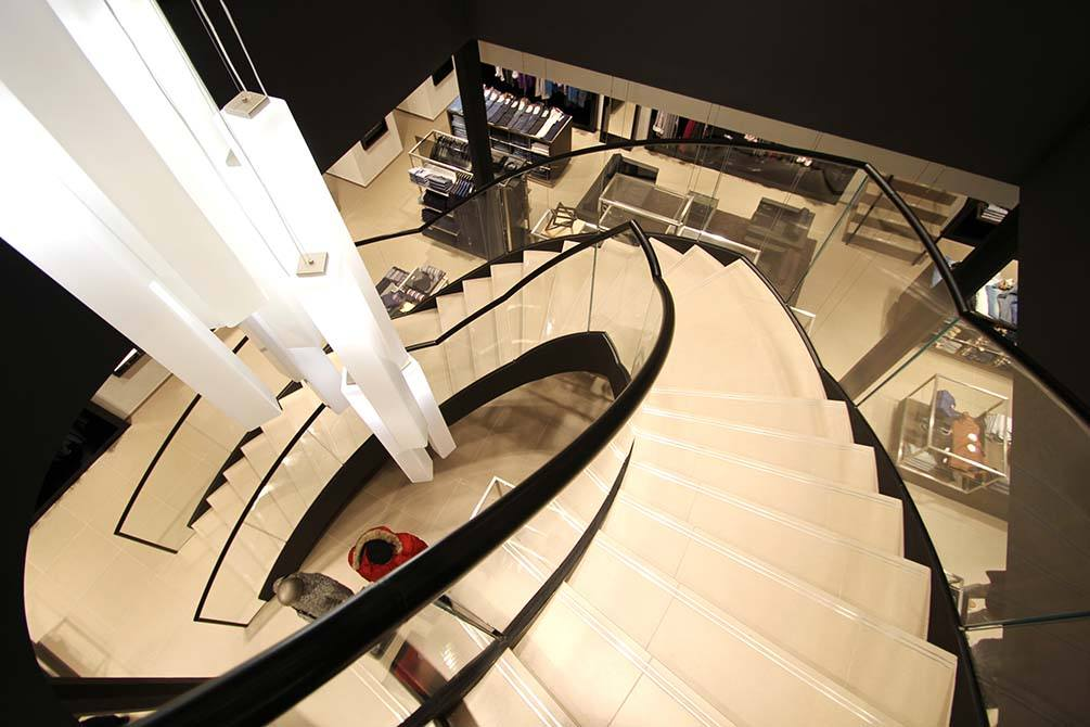 Hugo Boss Nottingham modern spiral staircase