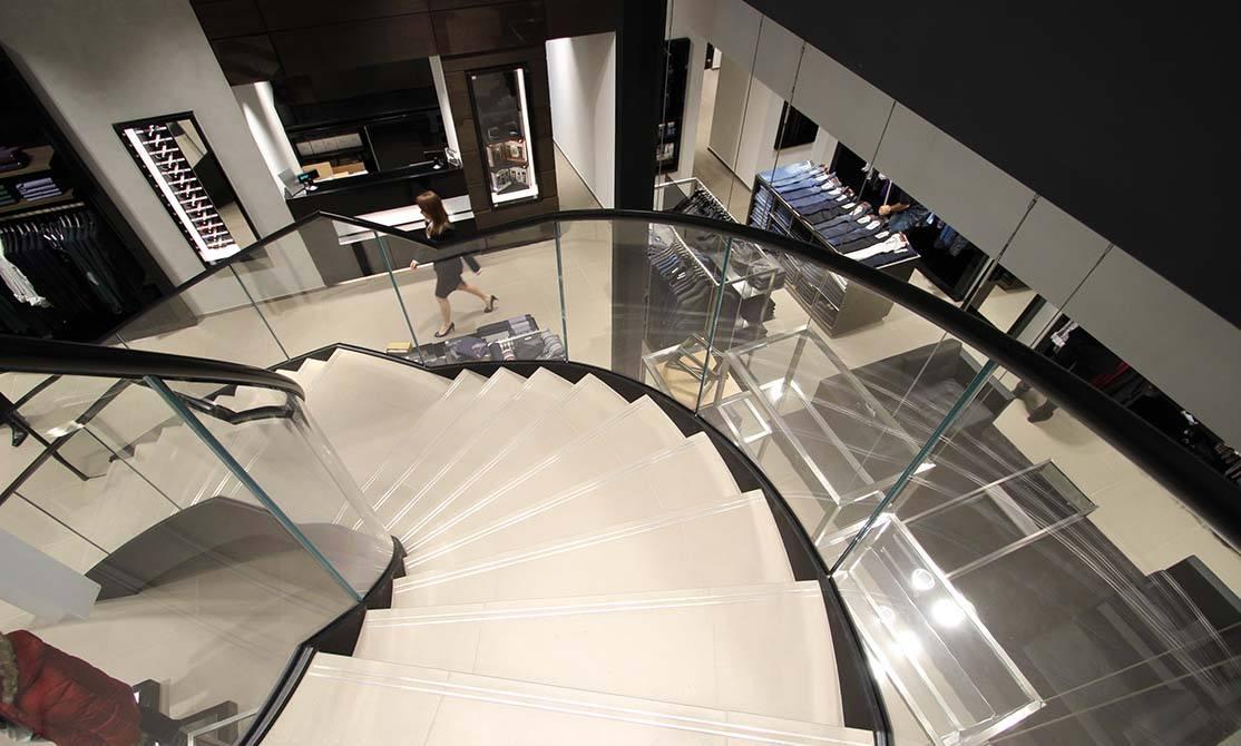 Hugo Boss Nottingham stainless steel glass balustrade