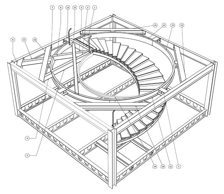 Ogier Drawing staircase supporting steels