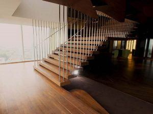 Modus Workspace staircase with stainless steel balustrade