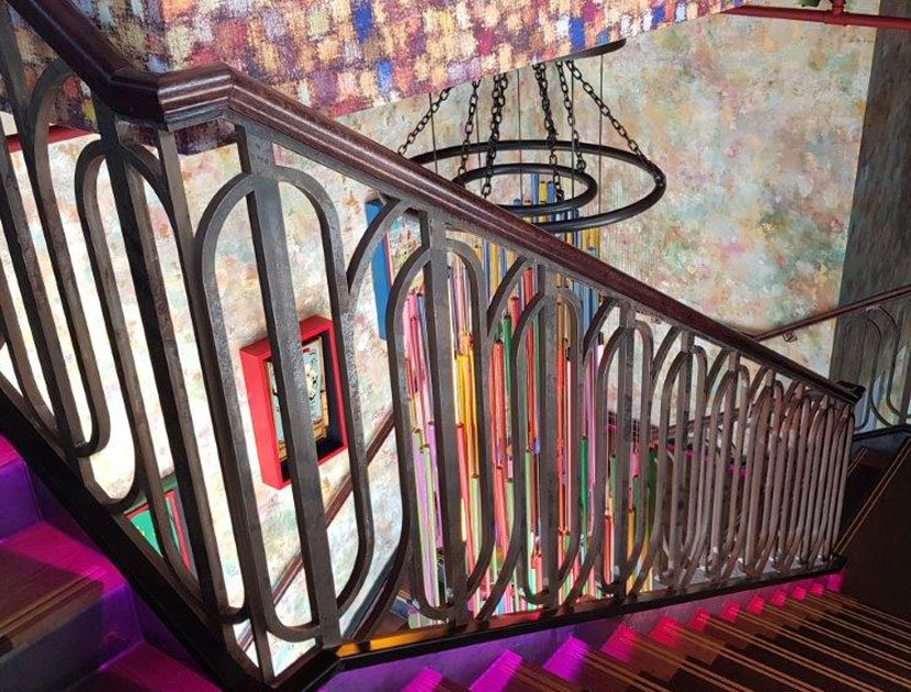 laser cut balustrade with timber handrail