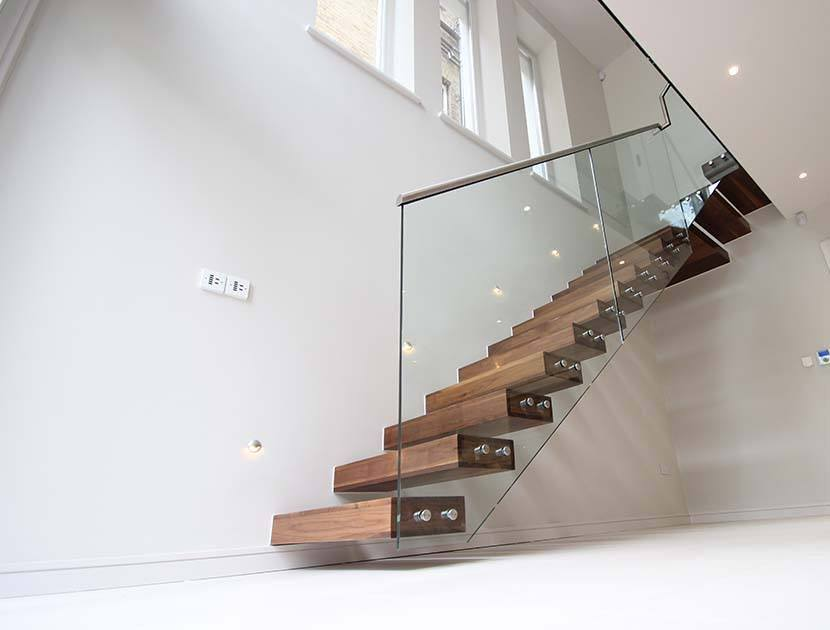 Open Riser Staircase with Glass Balustrade