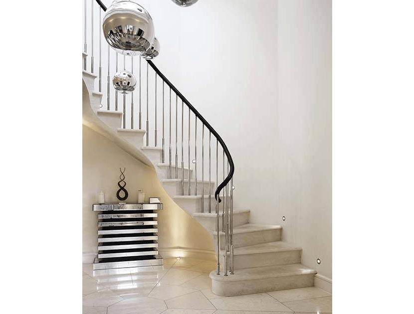 stainless steel balustrade with spiral staircase