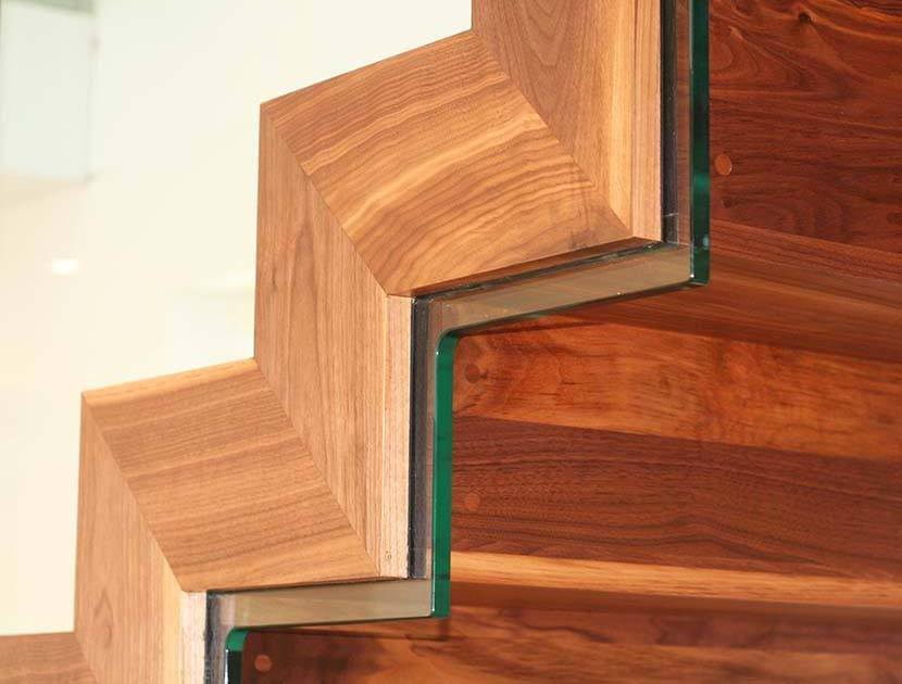 Close up of Side of Zig Zag staircase