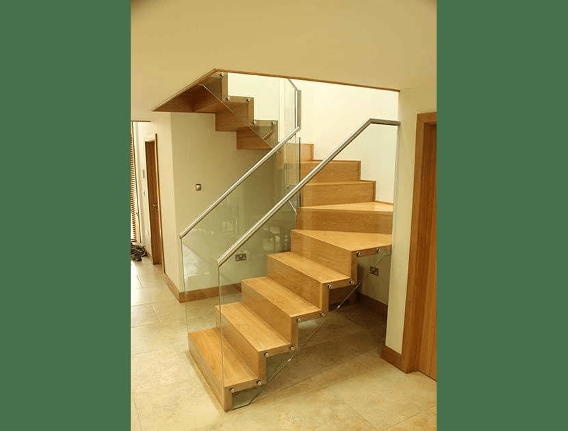 Zig Zag staircase with glass balustrade