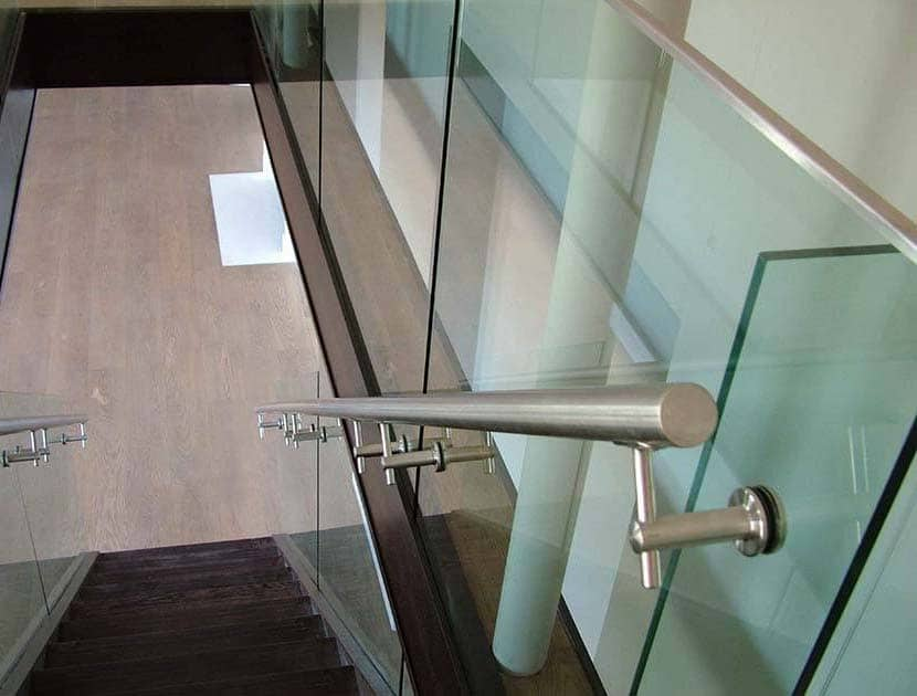 Stainless steel handrail in apartment