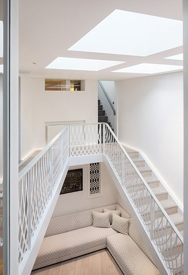 Bespoke straight staircase laser cut balustrades and walkway