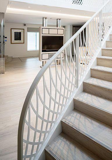 ornate mild steel balustrade oak white treads