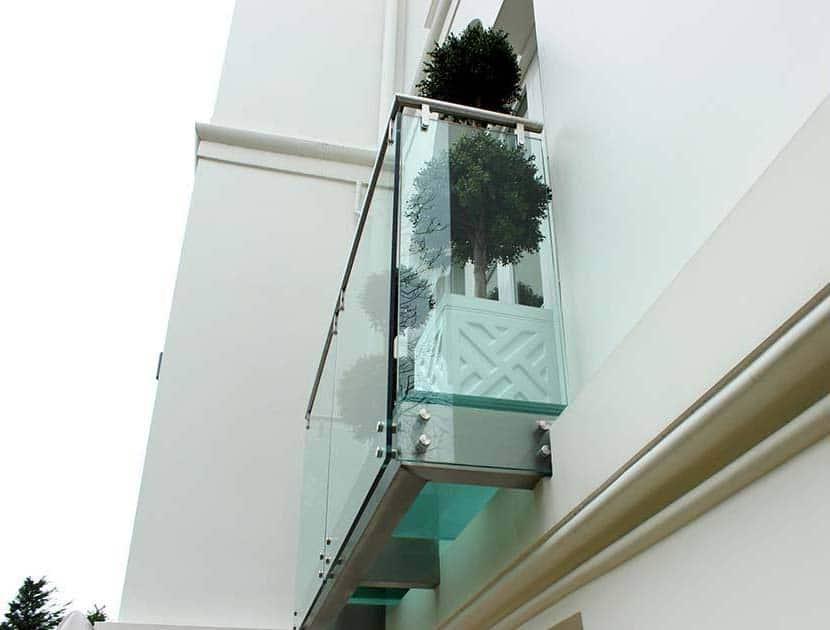Juliet balcony with plant pots