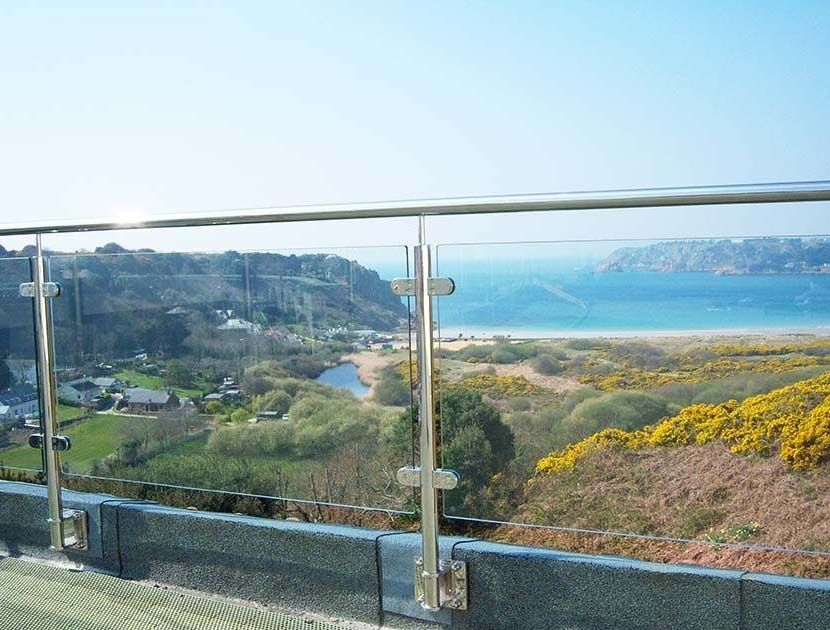 Terrace balustrade with view looking out to sea