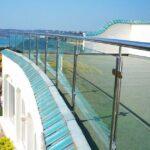 Terrace balustrade next to seaside