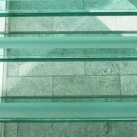 glass staircase treads close-up