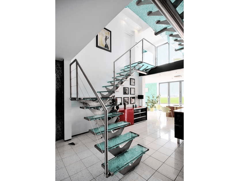 Glass central spine stairs